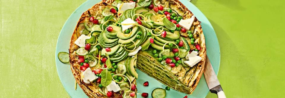 Tortillataart met frisse lente groenten
