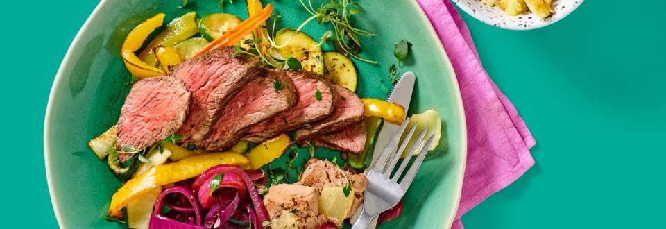 Ossenhaastournedos met ovengroenten, paté met peer en aardappelgratin