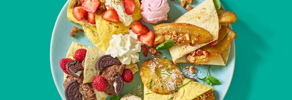 Tortillawraps met ijs en vers fruit