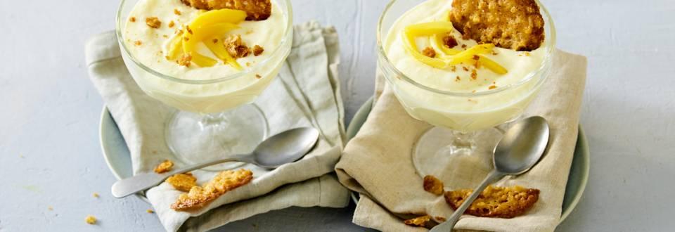 Mango-yoghurtmousse met kletskoppen
