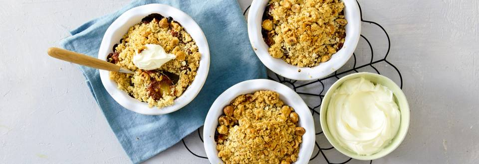 Sticky Peercrumble met dadels