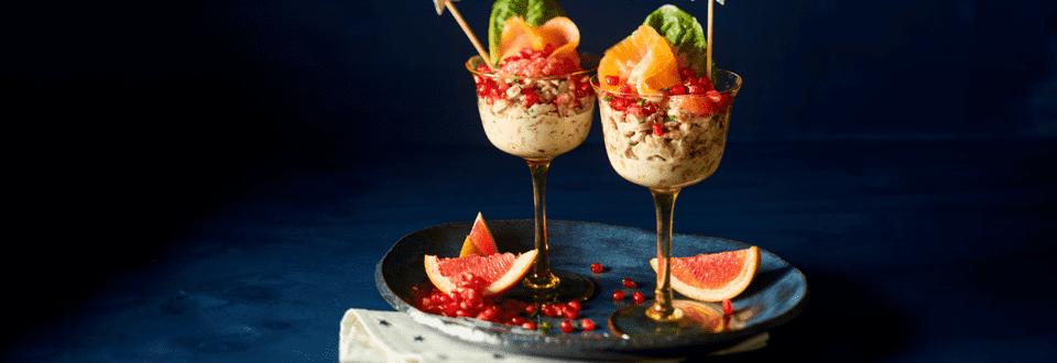 Garnalencocktail met zalm en granaatappel