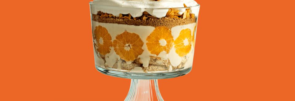 Trifle met cantuccini, speculaas, herfstfruit en herfstvla