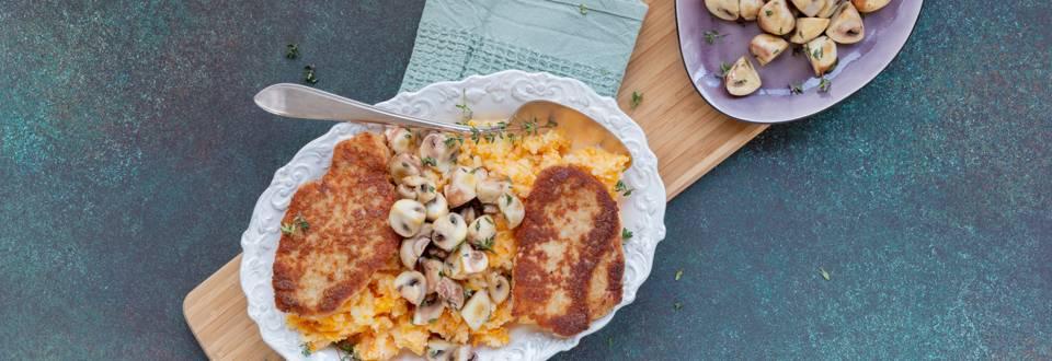Schnitzel met gebakken tijmchampignons en pompoenpuree