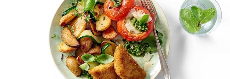 Toscaanse carrés met geroosterde groenten en gevulde geroosterde trostomaten met mozzarella en pesto
