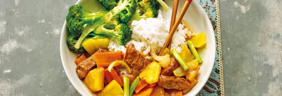 Chinese varkensfilet met ananas en broccoli
