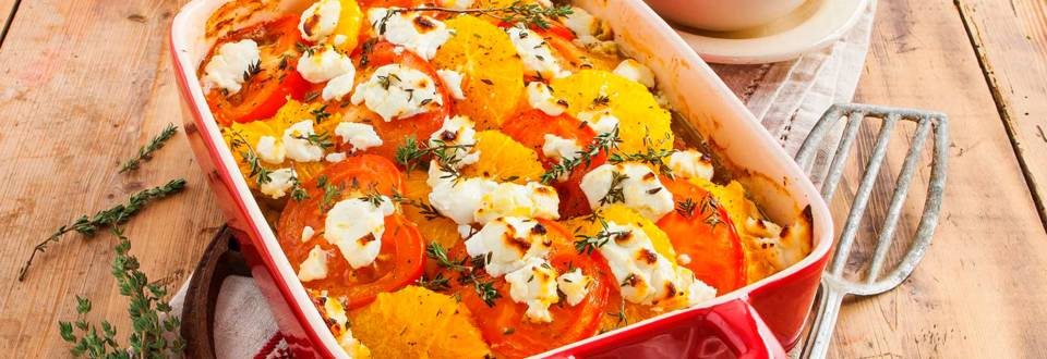Visschotel met prei en sinaasappel