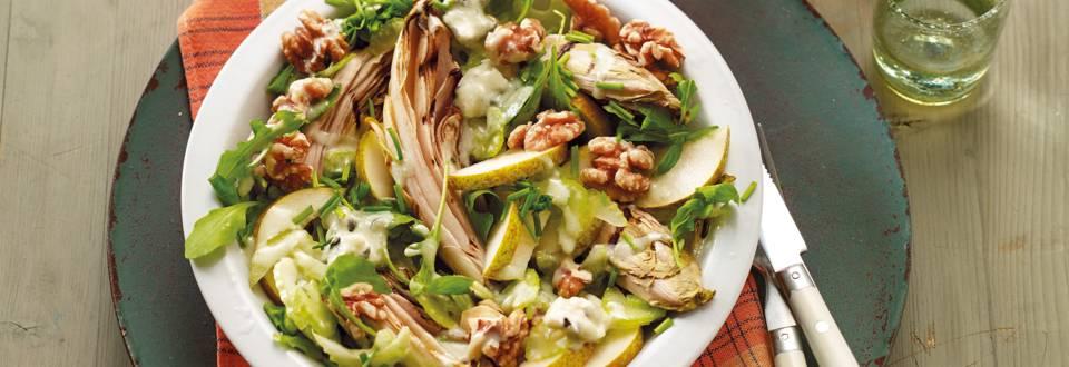 Salade van gegrilde witlof met rucola en Roquefortdressing