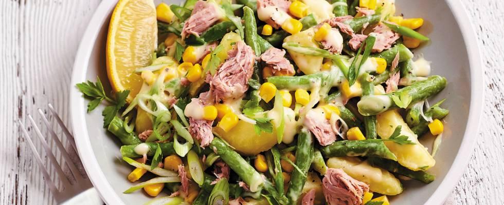 Tonijnsalade met aardappel en sperziebonen